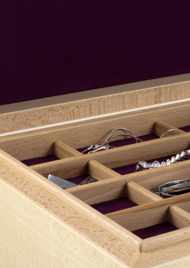 Close up of jewellery storage tray