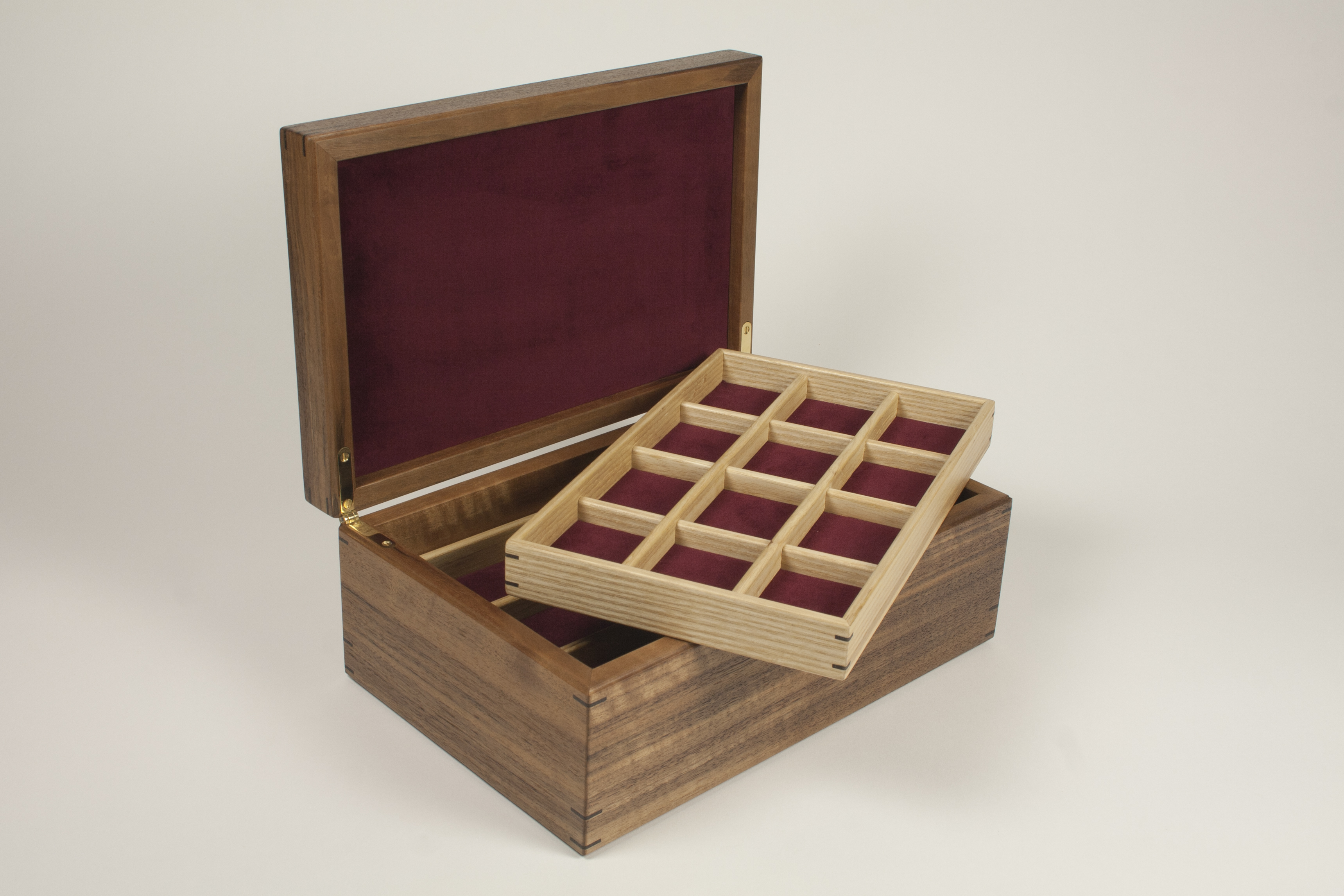 Jewellery box with first tray on top