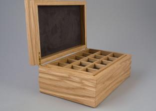 Oak jewellery box with storage trays