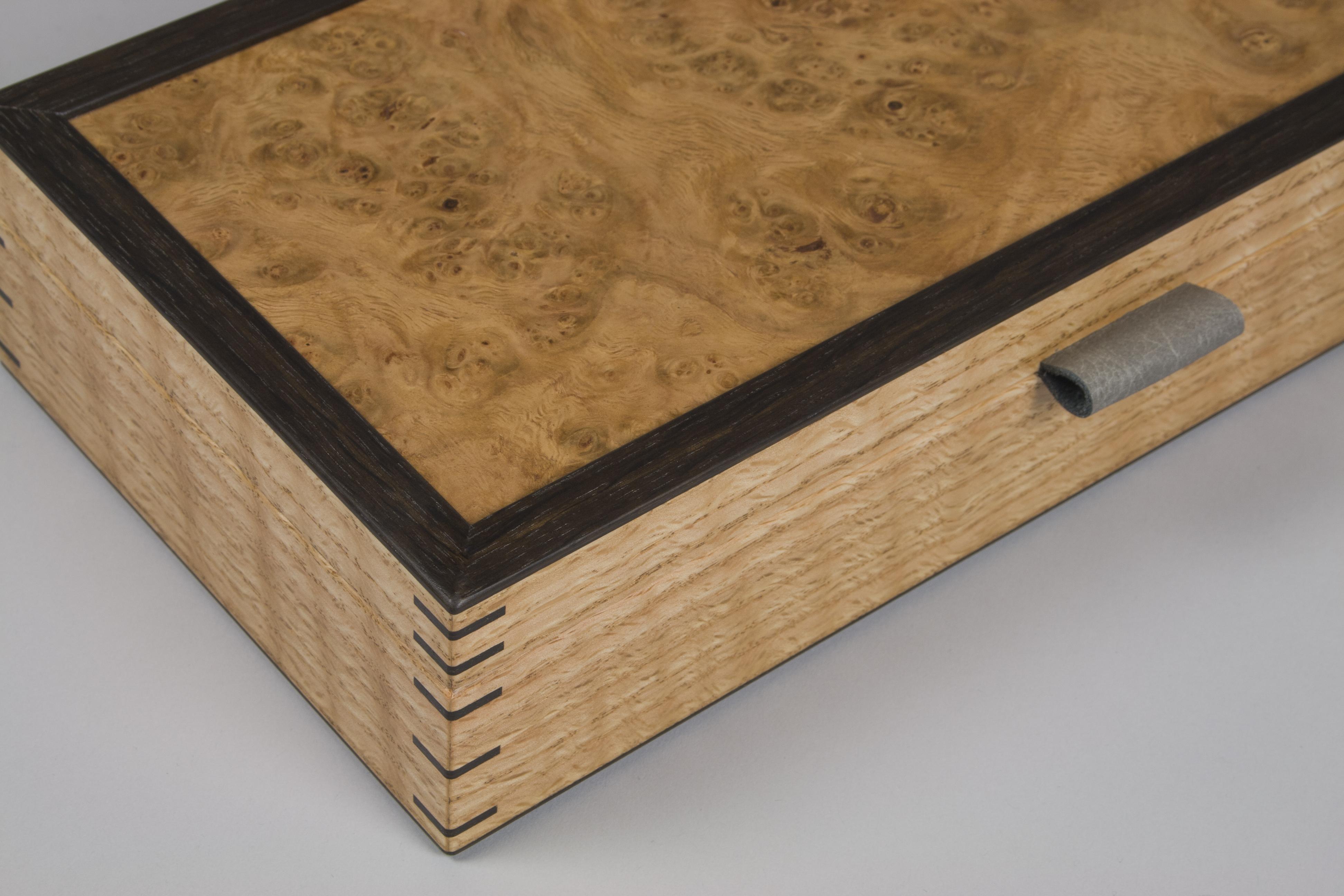 Cufflink box from oak burr