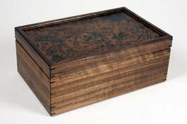 Walnut burr lid jewellery box