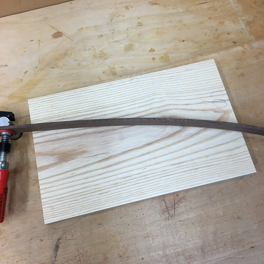 Working out the curve the inlay is to follow on this box lid