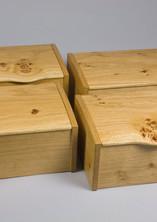 Four oak jewellery boxes