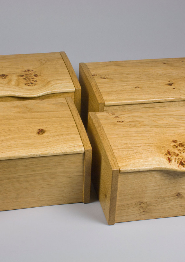 Four oak jewellery boxes