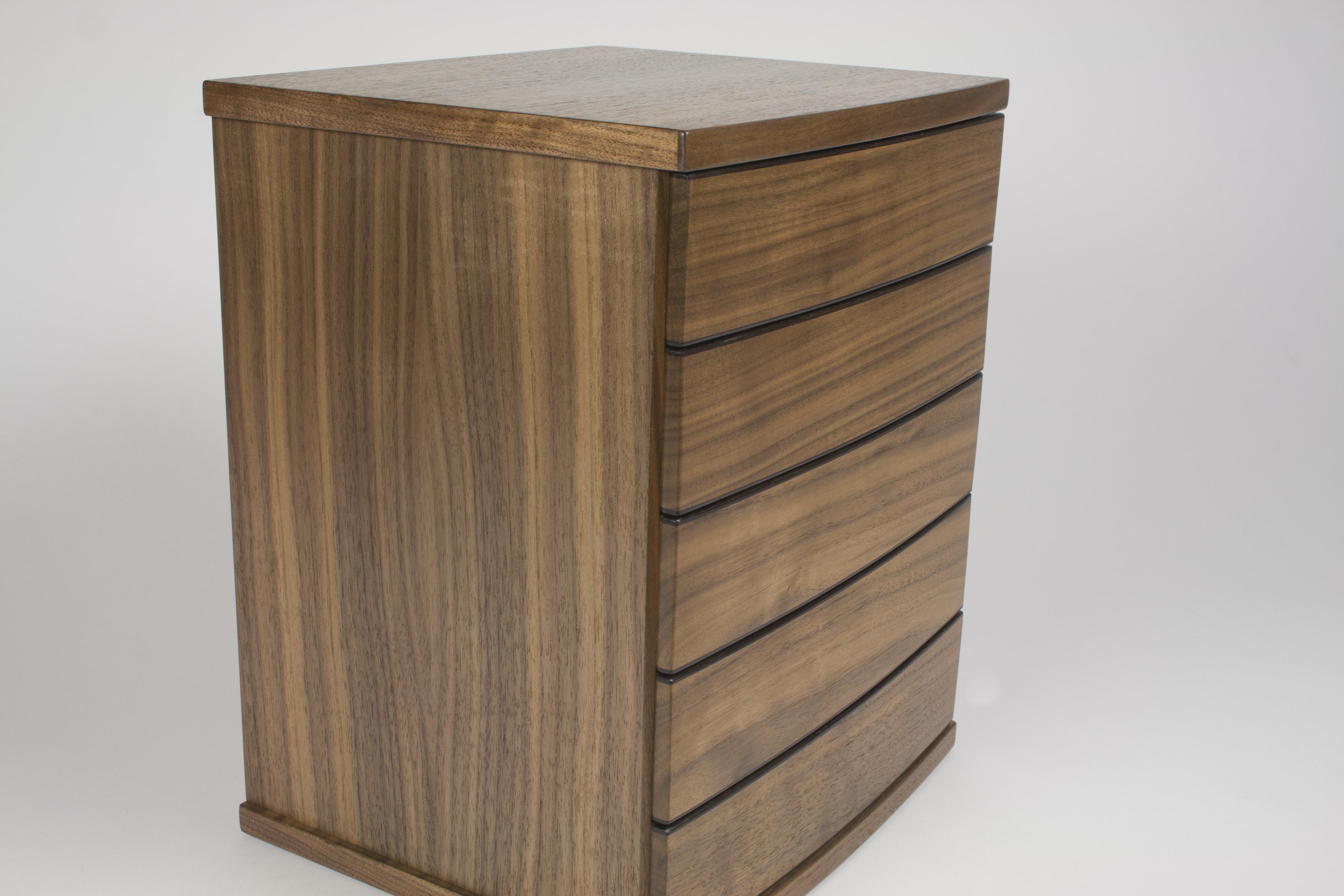 Walnut jewellery chest of drawers