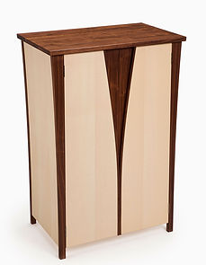Art-deco inspired bespoke cabinet made from walnut and sycamore