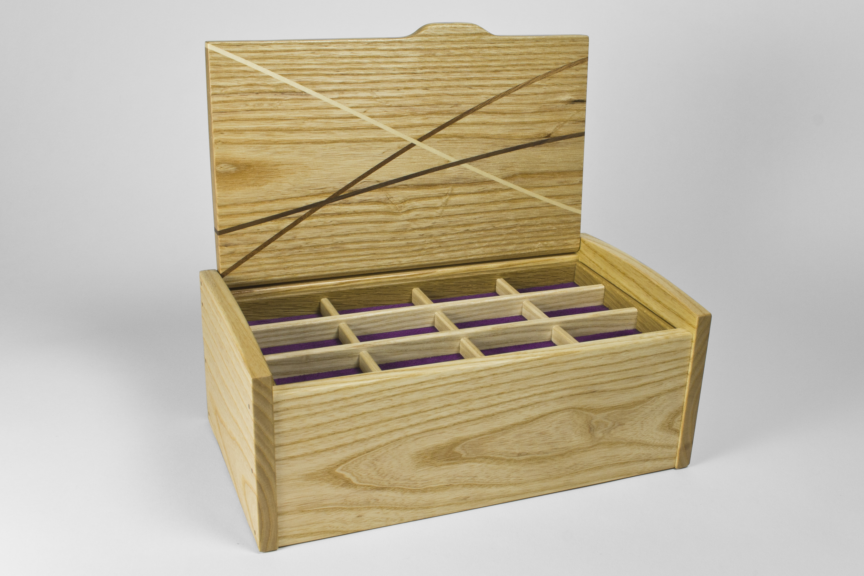 Ash jewellery box with lid open