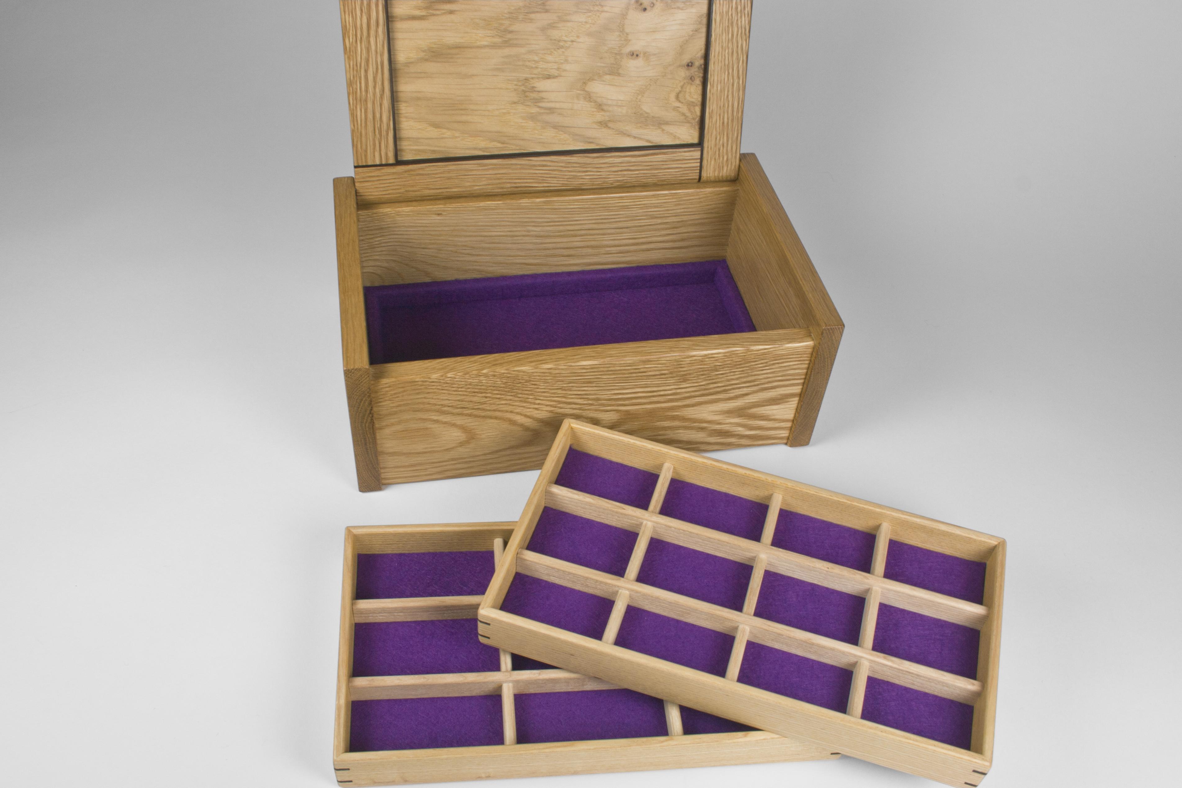 Two jewellery storage trays