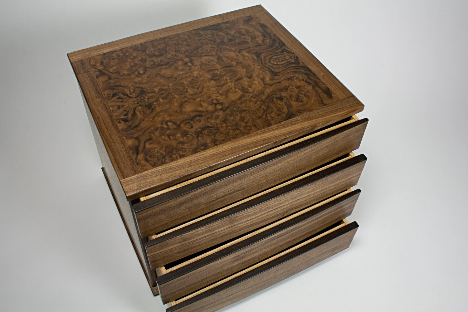 Walnut burr top panel on chest