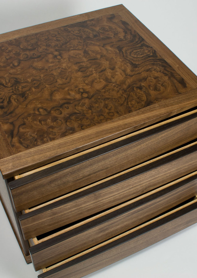 jewellery chest of drawers in walnut