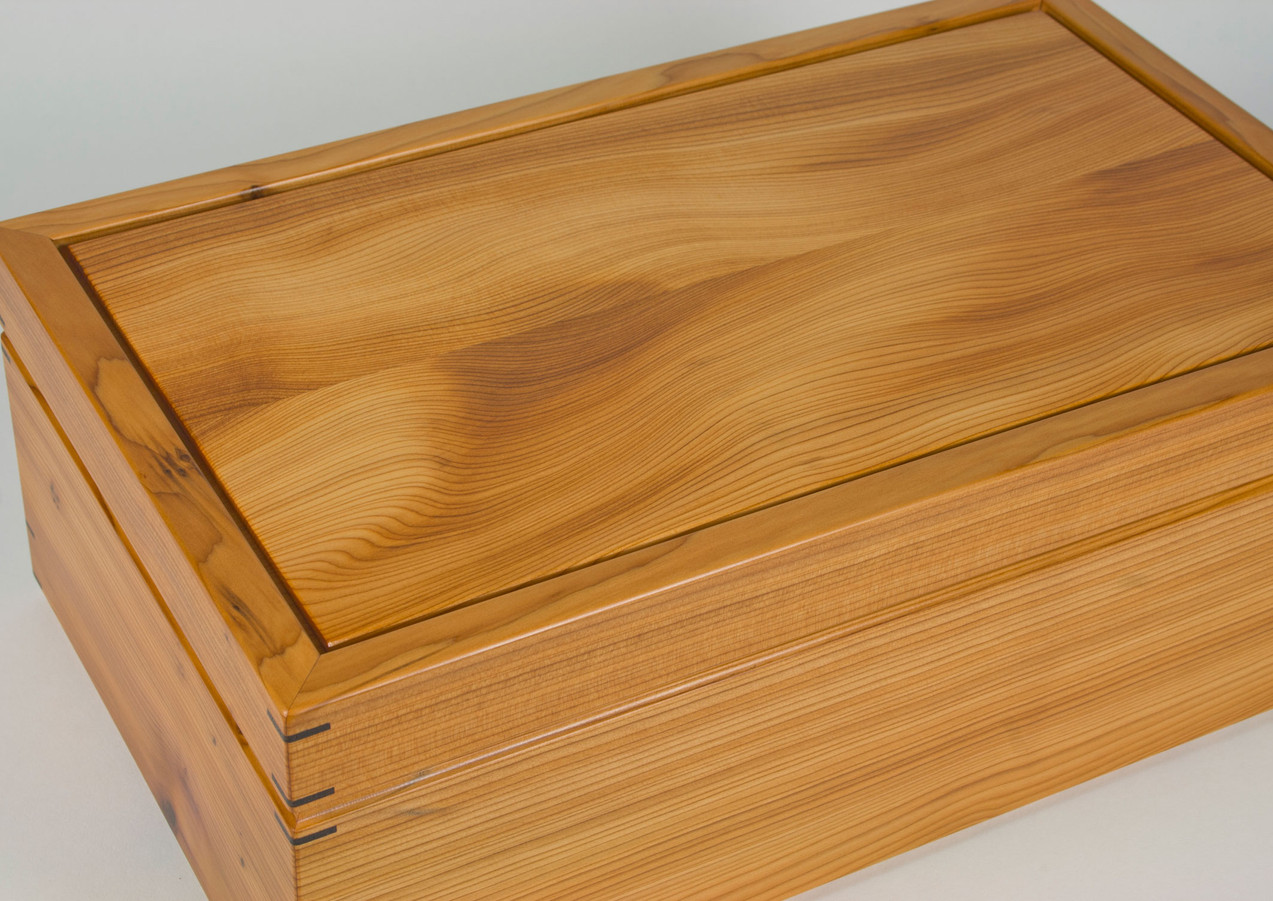 Yew wooden jewellery box