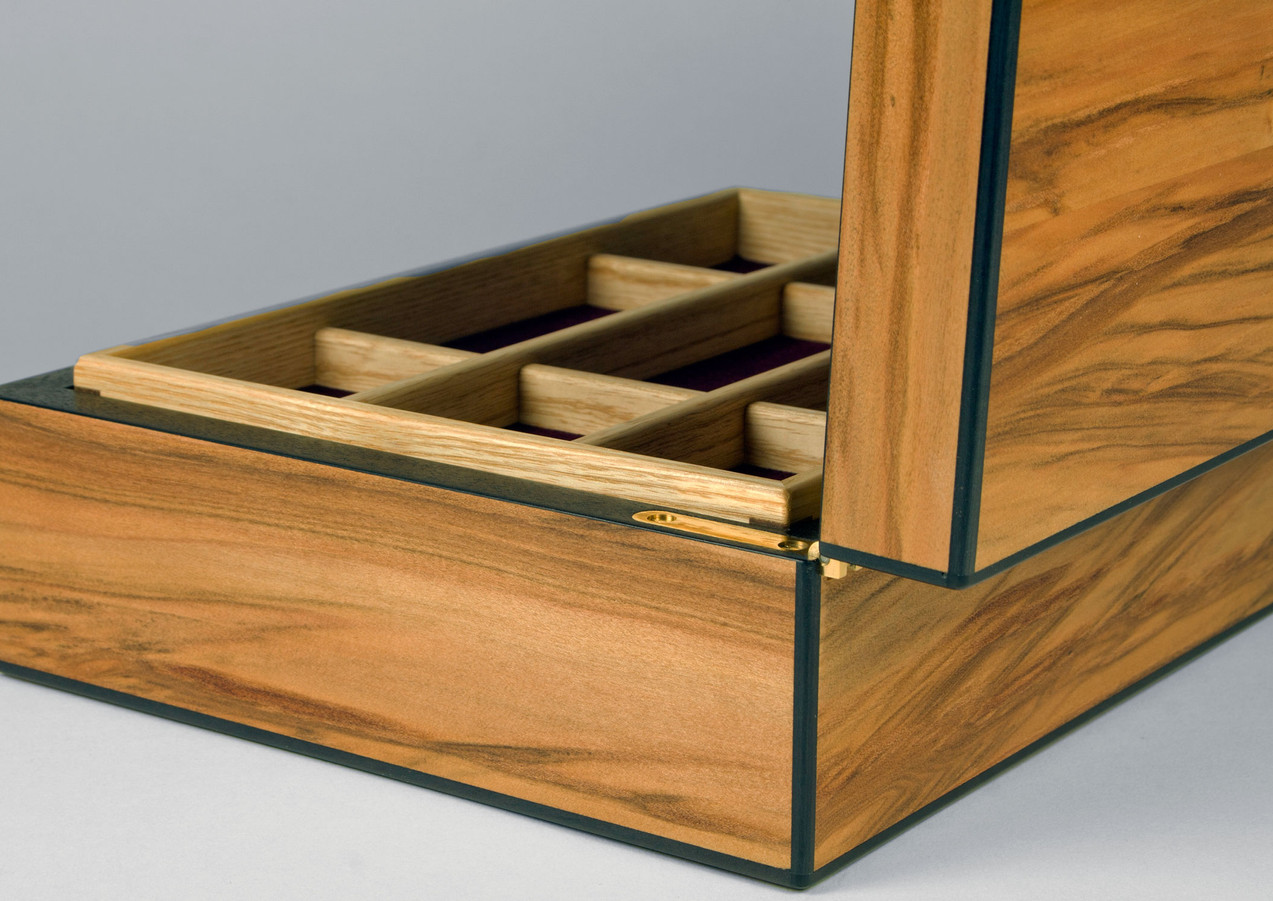 Bespoke made satin walnut jewellery box