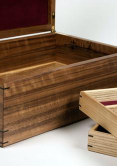 Walnut and walnut burr jewellery box