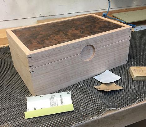 Oak and walnut burr jewellery box
