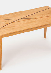 Coffee table made from oak, with solid wood inlays
