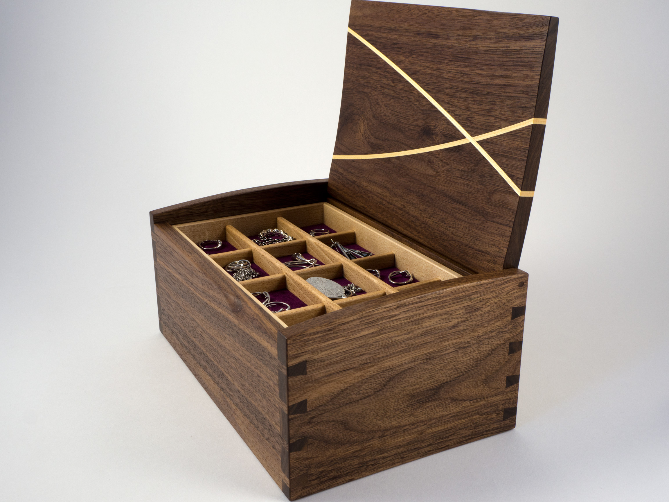 Walnut 'Winding Paths' jewellery box