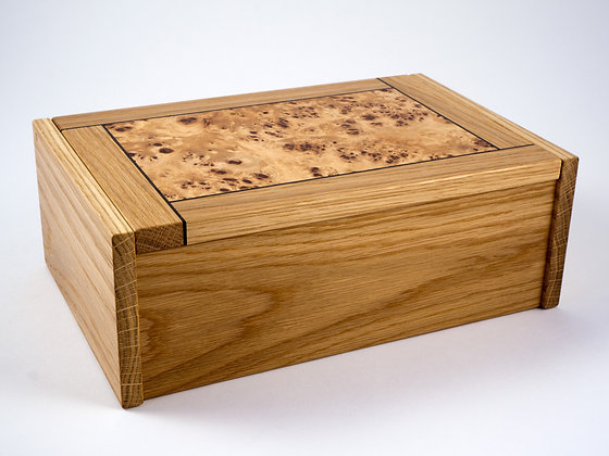 Oak and poplar burr jewellery box