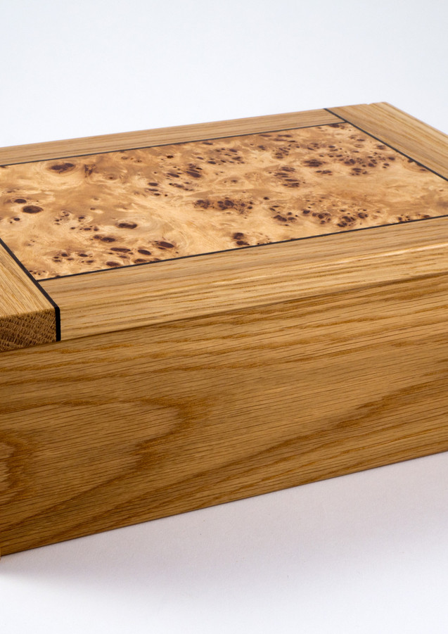 Jewellery box made from oak and poplar burr
