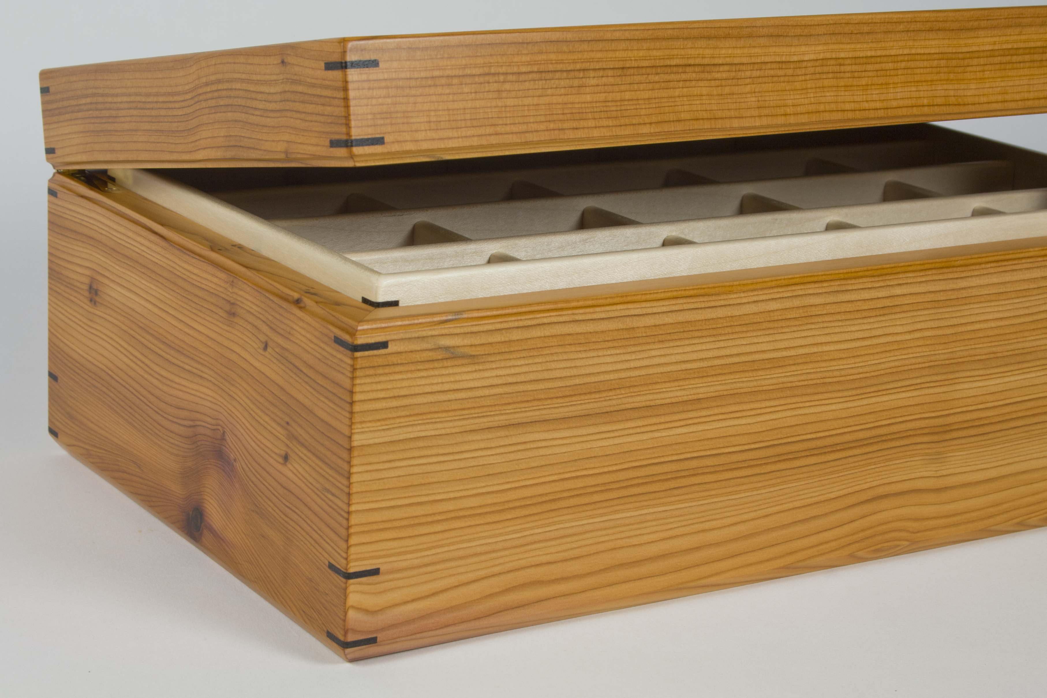 Yew jewellery box with lid just open