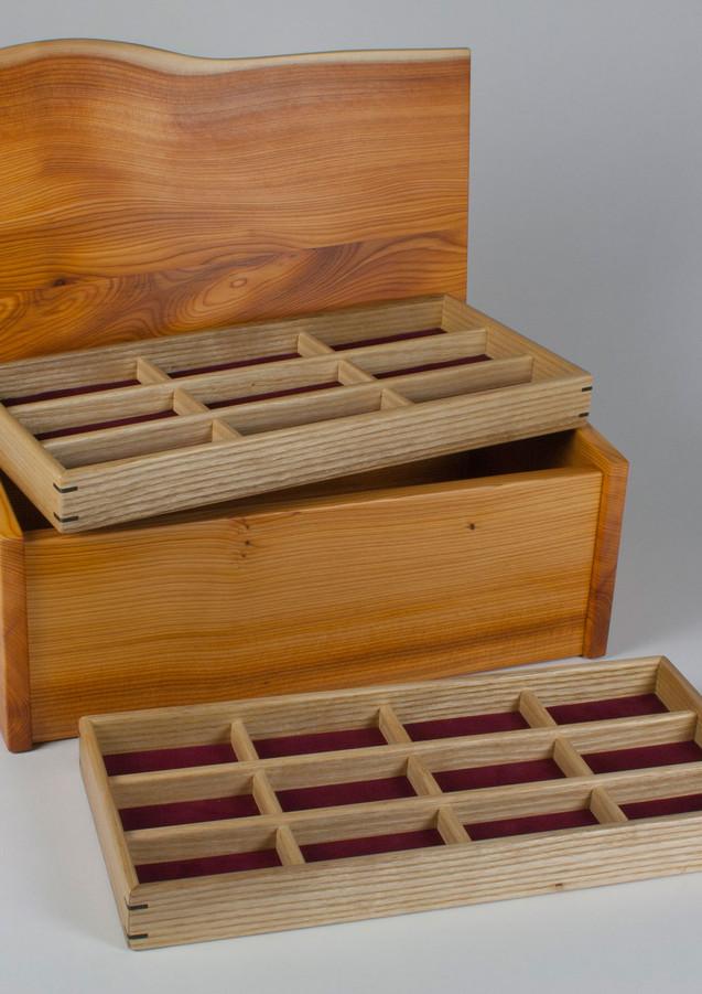 Box with jewellery storage trays