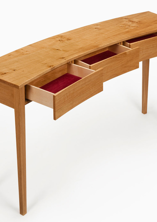 The console table with all three drawers open.