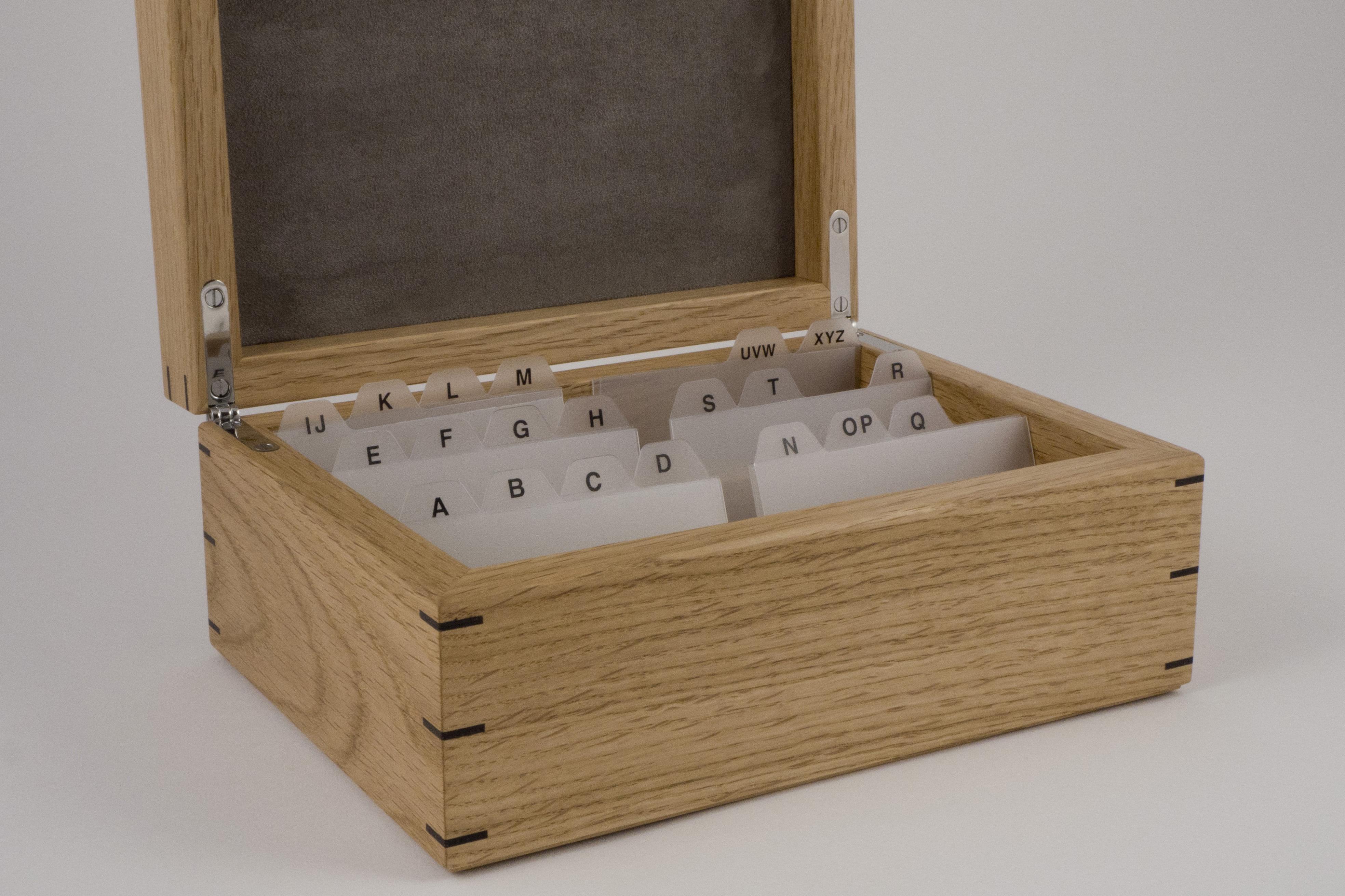 oak and poplar business card box