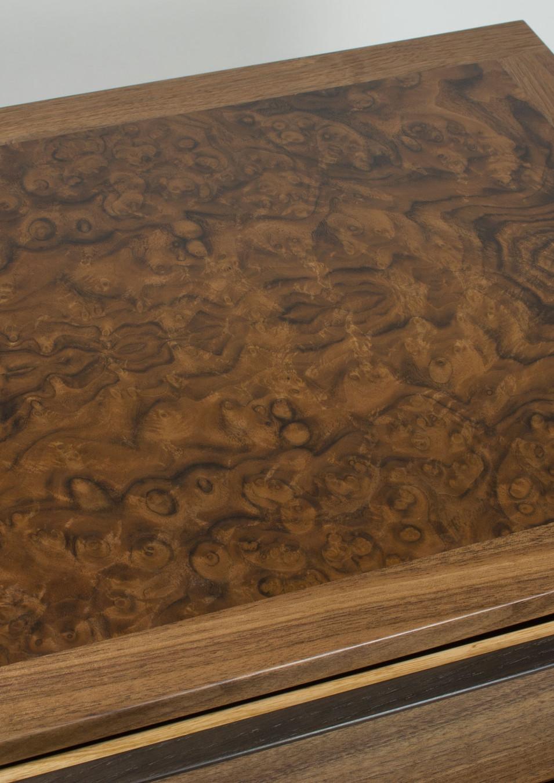 walnut burr jewellery chest