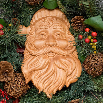 Wooden Santa Claus face carving