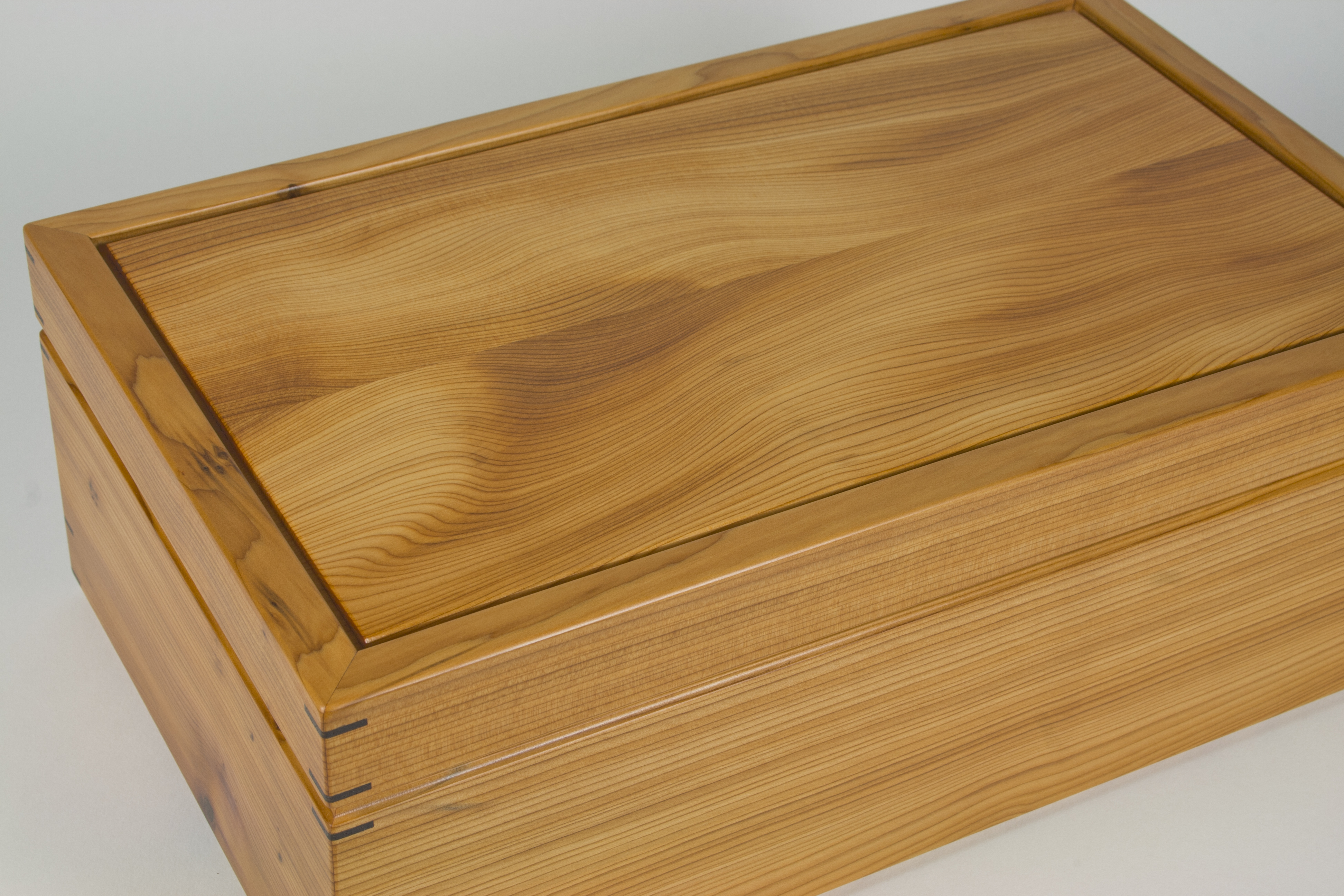 Close up of yew box lid