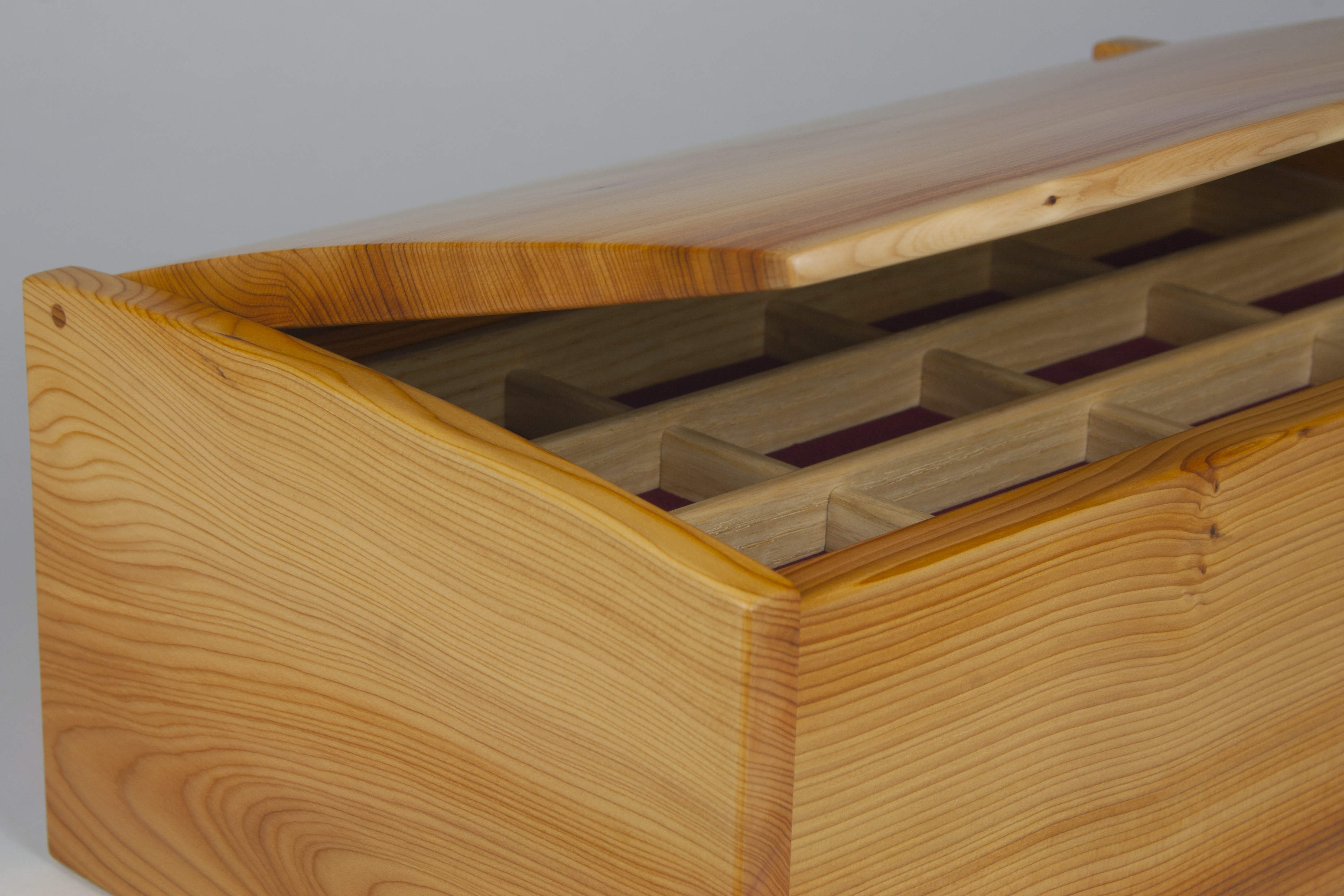 Jewellery box with lid just open