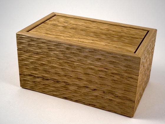 Oak sculptured surface jewellery box