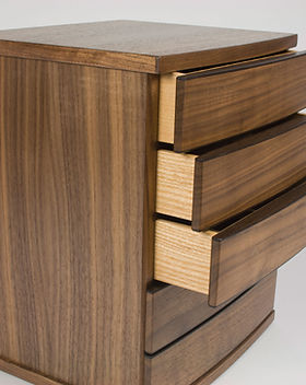 Bespoke handmade table-top jewellery chest of drawers made from walnut wood