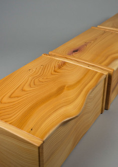 Three jewellery boxes made from yew