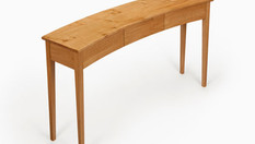 Oak curved console table