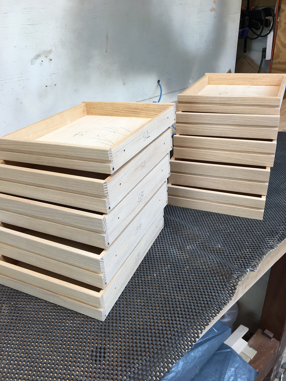 The ash drawers are glued up