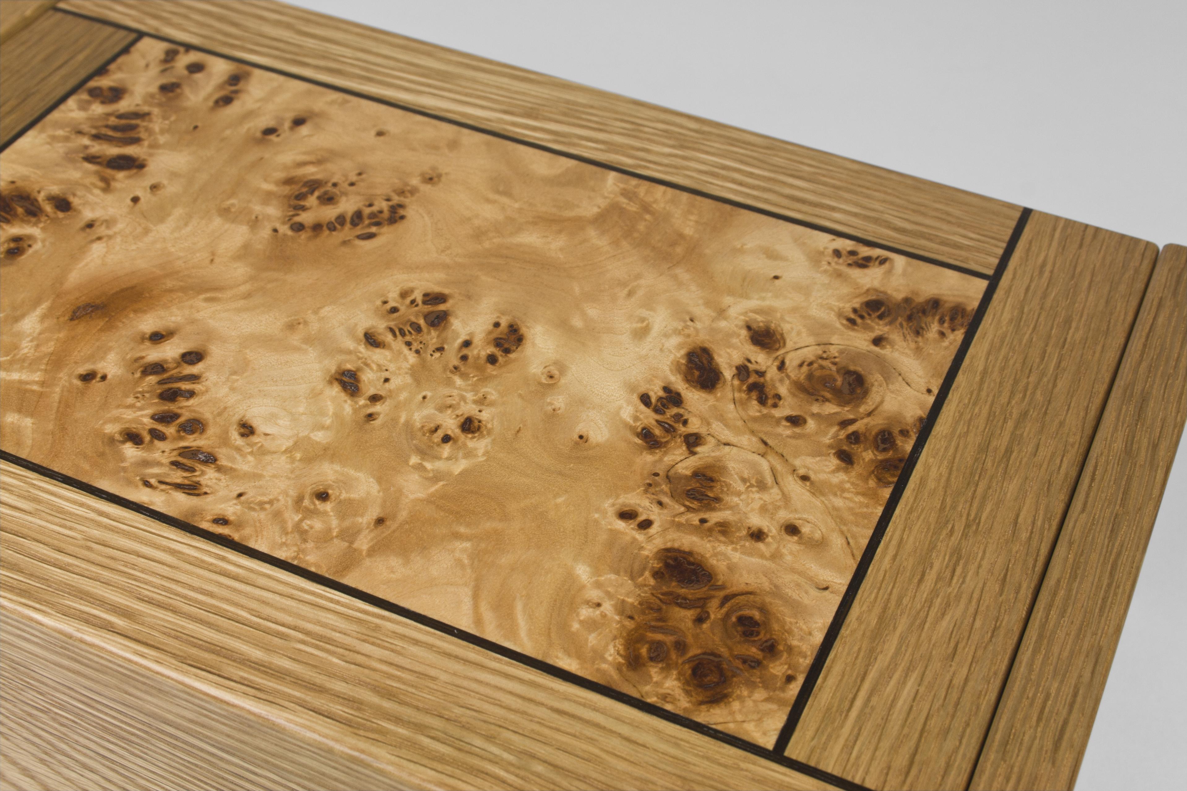 Oak and poplar burr jewellery box