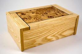 Ash and poplar burr jewellery box