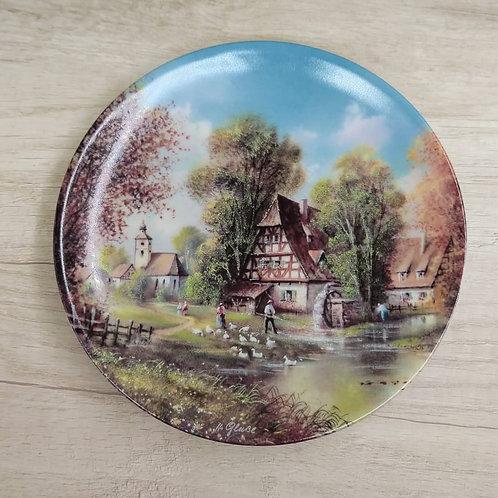 """Plato de Colección Alemán, Porcelana de Bavaria """" Vistas Románticas del Pueblo"""""""""""