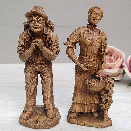 Par de Esculturas Talladas, La Cosecha