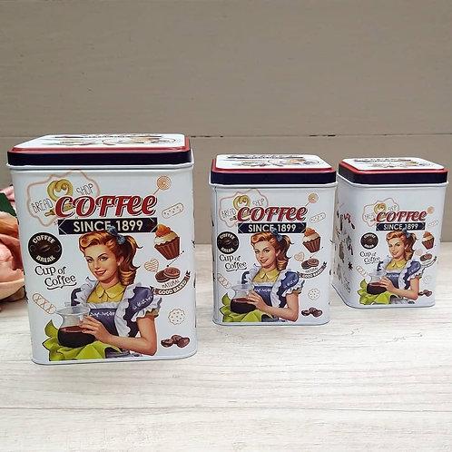"""Set de Latas Retro, """"Coffee Of The Day""""."""