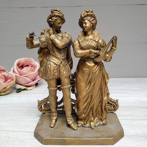 Escultura de Músicos Victorianos, hierro y bronce.