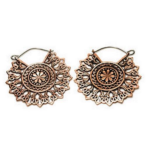 Copper Mandala Earrings (pair)