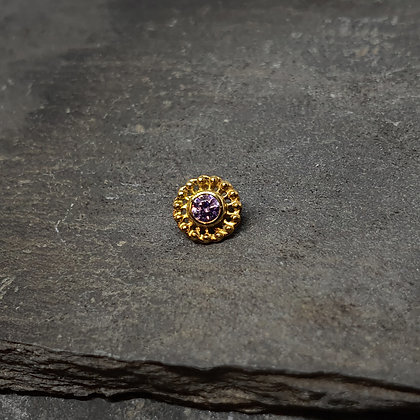 Anatometal - Virtue End - Yellow Gold and Amethyst