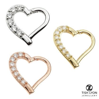 Tish Lyon - 14ct Gold - Gem Heart Hinged Ring
