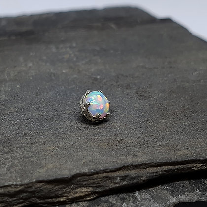 Anatometal - Queen End - White Gold and White Opal