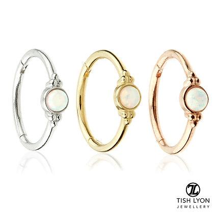 Tish Lyon - 14ct Gold - Opal Tri-Dot Hinged Ring