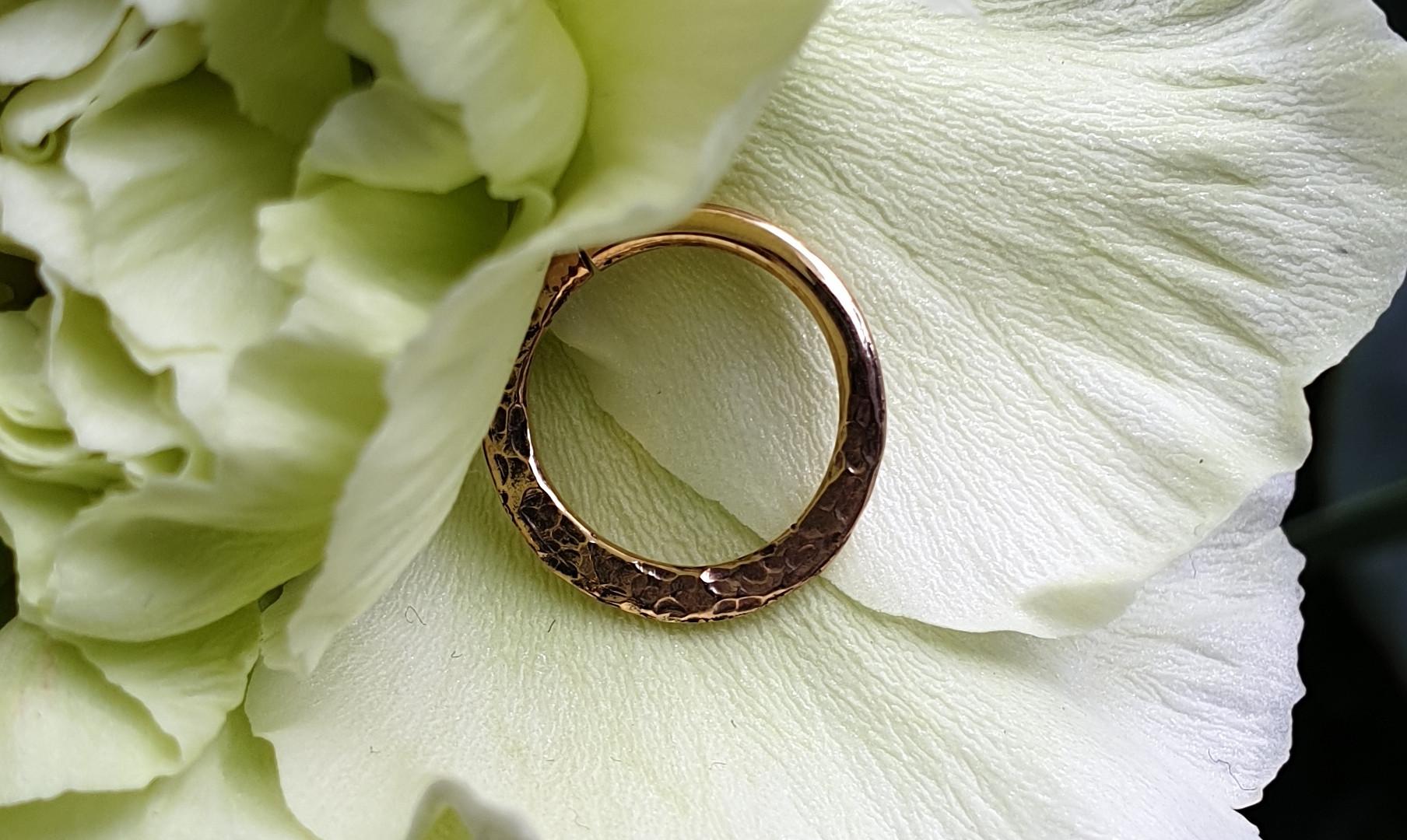 Sacred Symbols Hammered Ring