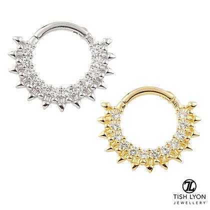 Tish Lyon - 14ct Gold - Front Facing Pave Gem Hinged Ring