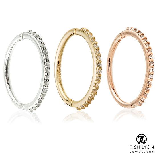 Tish Lyon - 14ct Gold - Pave Gem Eternity Hinged Ring