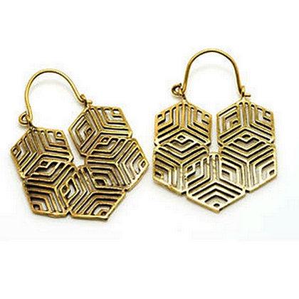 Hex Brass Earrings (pair)
